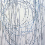 Black and Blue Lines in White - All Rising   Oil on canvas   84 x 60 inches