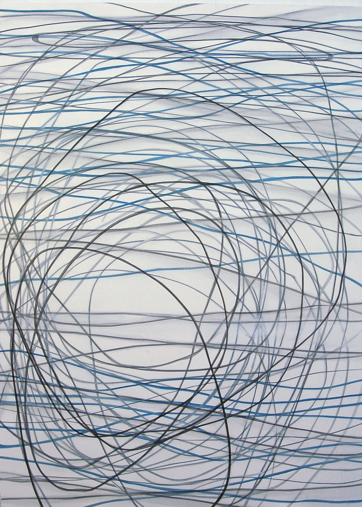 18393 Black and Blue lines in White - All Gounding - Mixed media on canvas - 84 x 60 inches