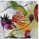 Aqua Flora #26  Mixed media on paper  20 x 20 inches