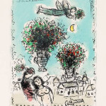 Bouquets with a Blue Sky - LIthograph - 12.5 x 9.5 inches