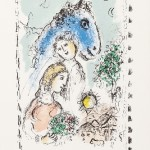 Cheval Bleu au Couple - Lithograph - 35.5 x 3.5 inches