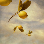 Flock of Lemons  Mixed media on panel  47 x 30 inches