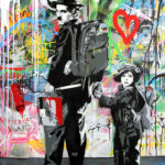 Chaplin & KidStencil and Mixed Media on Canvas 52 x 40 inches