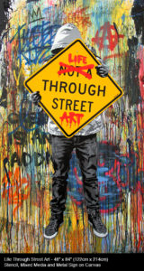 Life Through Street ArtStencil, Mixed Media and Metal Sign on Canvas 48 x 84 inches