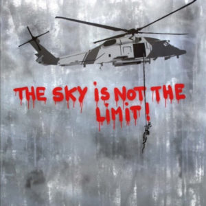 The Sky is Not The LimitStencil and Acryllic on Canvas 48 x 48 inches